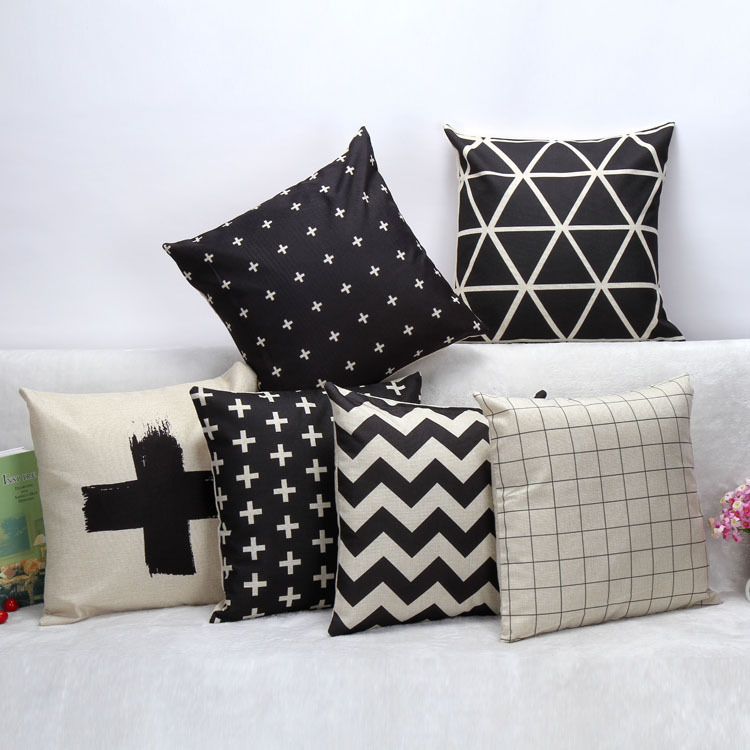 Simple Style Black And White Lattice Fringe Linen Cushion OEM Decorative Home Sofa Car Chair Throw