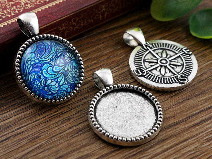 3pcs 20mm Inner Size Antique Silver Classic Style Cabochon Base Setting Charms Pendant (D2-38)(China (Mainland))