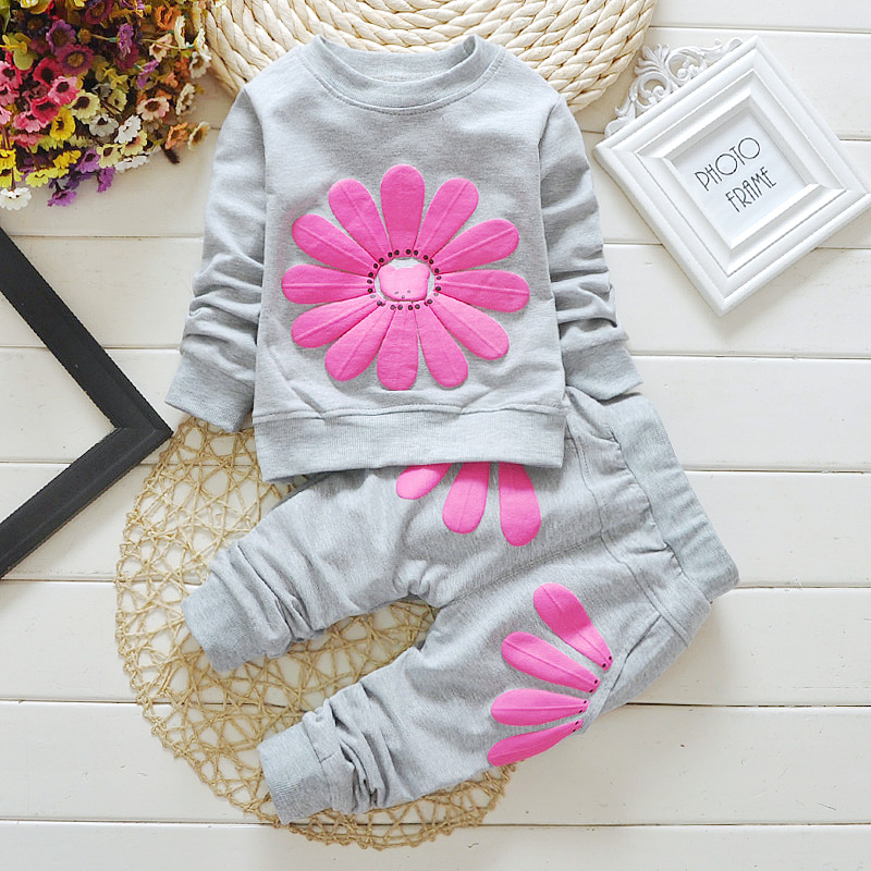 2PCS Baby Girl Autumn Clothing Set Floral Cotton Outerwear Sport Suit Kids Soccer Jersey Child School Wear Football Tracksuit YE(China (Mainland))