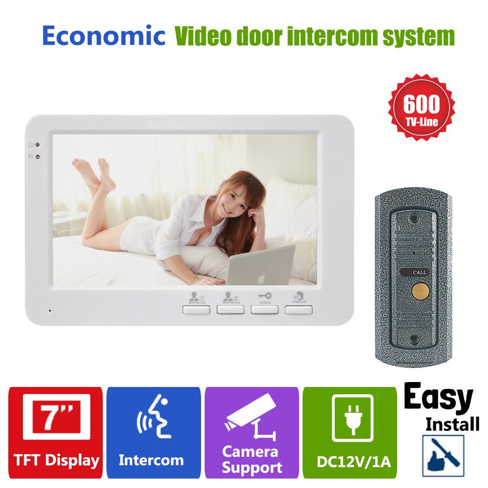 "Фотография YSECU 7""TFT 600TVL  Door phone Camera Intercom  Doorbell System Video Door Monitor  1 to 1"