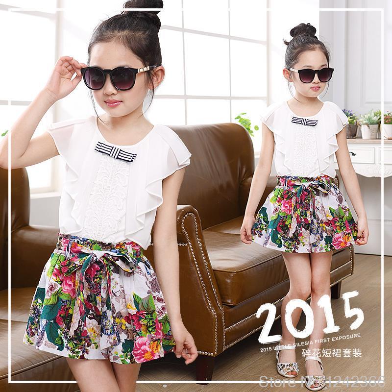 girls clothes set chiffon t-shirt shorts skirt kids clothing 2015 summer style childrens apparel wholesale clothing cheap model(China (Mainland))