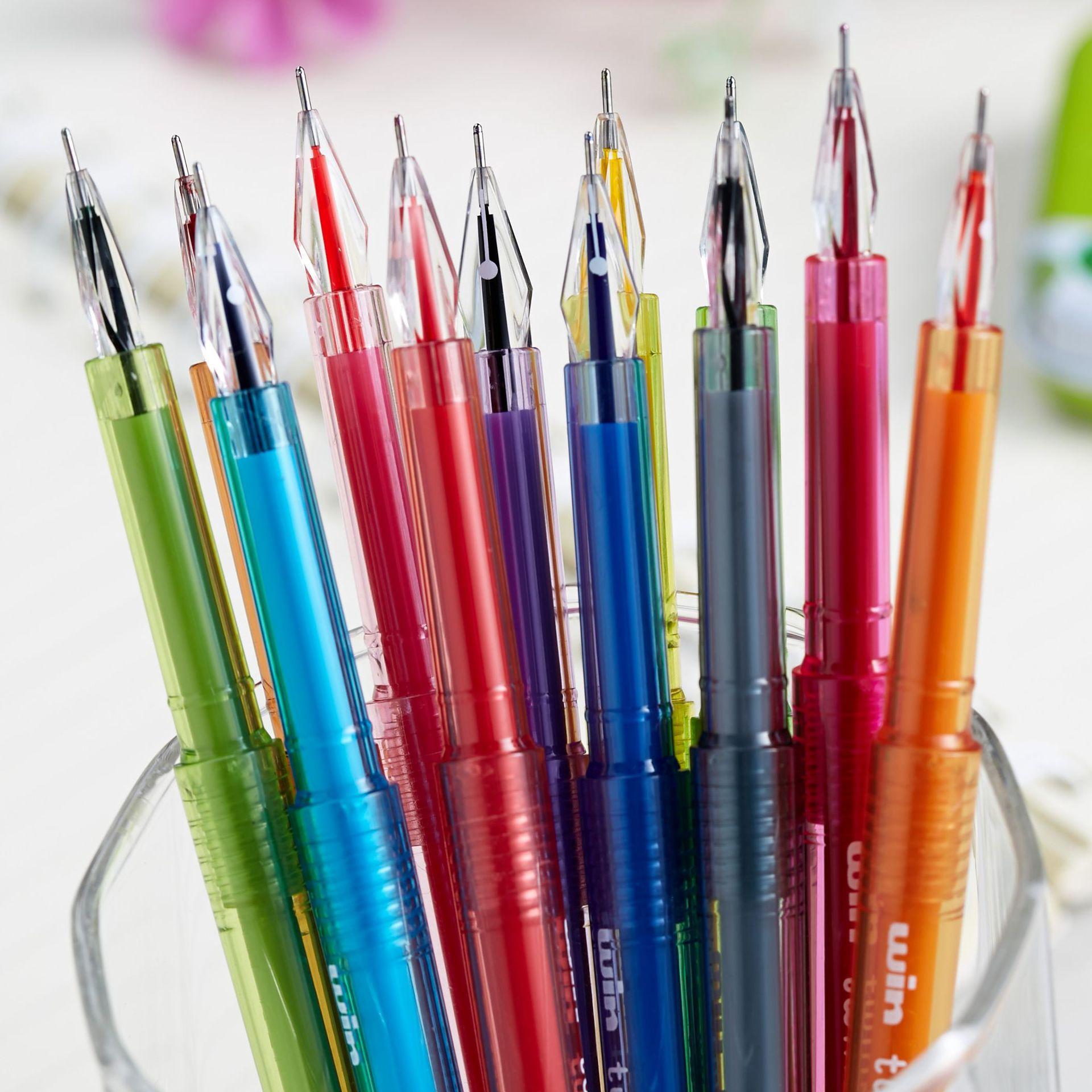 (12Pcs/Set) 0.5 Diamond Pens Gel Pen School Supplies Colored Gel Pens Kawaii School Supplies Office School Cute Pen Stabilo(China (Mainland))
