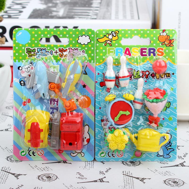 2015newBlister Card Set cute eraser Korea creative stationery wholesale student eraser children gifts(China (Mainland))