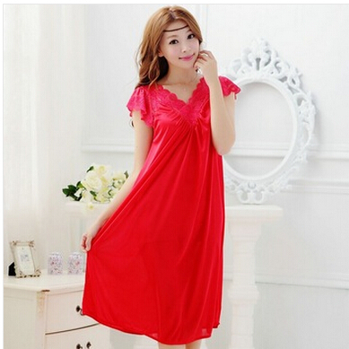 Free shipping women red lace sexy nightdress girls pajamas plus size Large size Sleepwear nightgown night dress skirt Y02-4(China (Mainland))