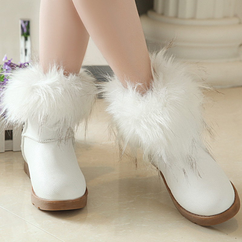 2014 autumn and winter thermal cotton-padded shoes fox fur snow boots women's shoes flat boots flat heel boots(China (Mainland))