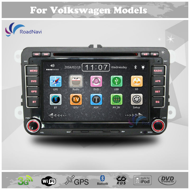 Wholesale 2 Din 7 Inch Car DVD Player For VW Volkswagen Passat POLO GOLF Skoda Seat With 3G USB GPS BT IPOD FM RDS Free Maps(China (Mainland))