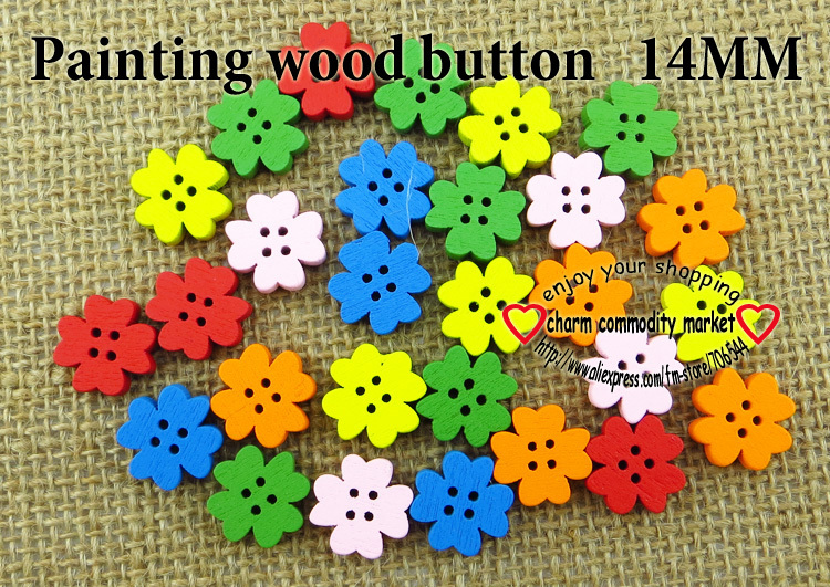 40PCS 14MM flower painting colors wood cartoons buttons coat boots sewing clothes accessories WCB-091(China (Mainland))