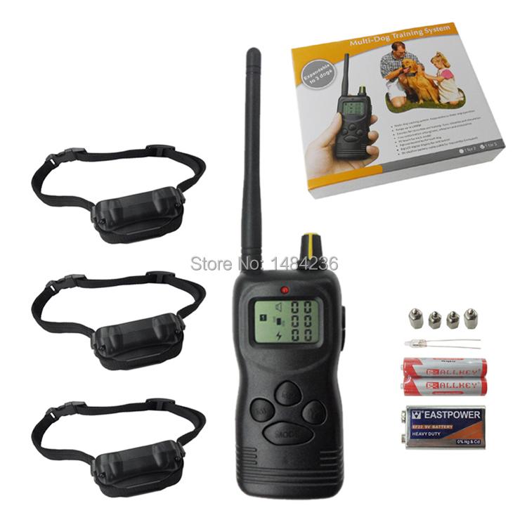 Free Shipping!!!Electric Dog Training Collar 1000M Range Remote Manual Control Shock+Vibra+LCD Display For 3 dogs No Bark Collar(China (Mainland))