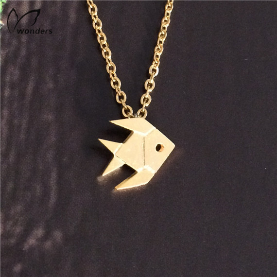 Wholesale 30pcs/lot Stailess Steel Plated Silver Fish Necklace For Men And Women Charm Origami Jewelry<br><br>Aliexpress