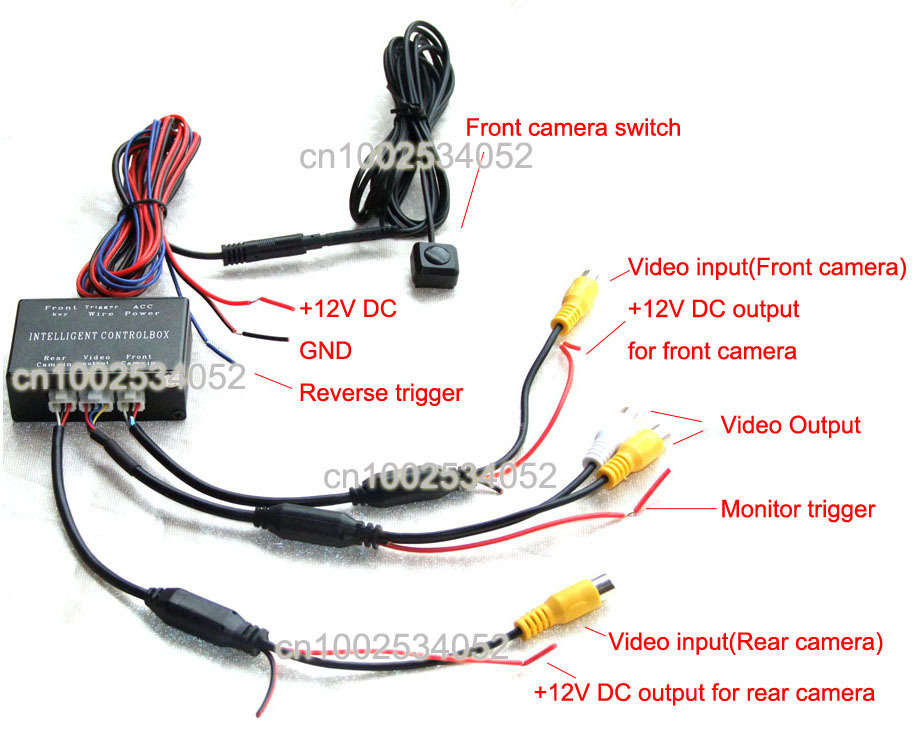 2channel car camera video switch for front and rear car camera system(automatical 20s front view delaying&manual front switch)