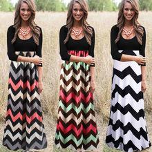 2016 Designer Women Spring Patchwork Wave Striped Vintage Three Quarter Print Dress Casual Beach Sexy Maxi Dresses Club Vestidos