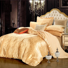 Bedding sets 4pcs/3pcs for king queen twin size satin jacquard tribute silk golden bedclothes duvet quilt bed covers linen sheet(China (Mainland))