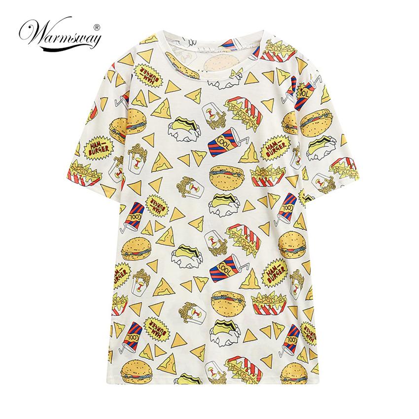 poleras de mujer harajuku summer style apparel hipster brand women big size hamburgers pizza T shirts fashion tshirt TS-062(China (Mainland))