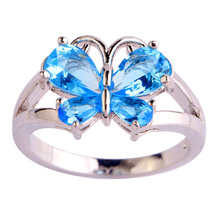 Handmade women Jewelry Wholesale butterfly Vogue Lab blue Topaz Silver 18Okay Gold Plated Ring Dimension 6 7 eight 9 10 11 Free Supply