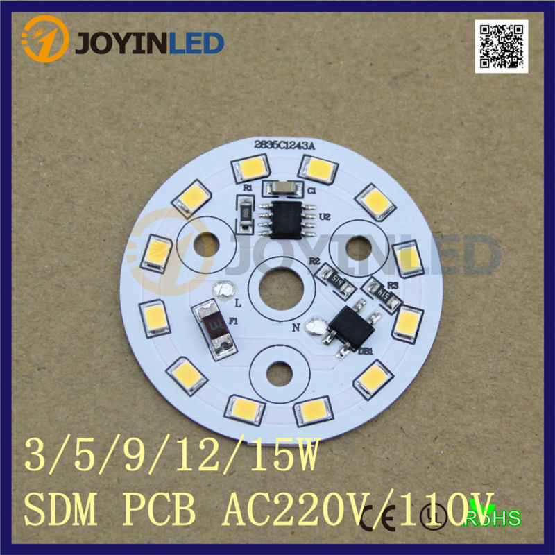 220V Dimmable integrated Driver 2835 led PCB for round bulb lamps 5W led assembly Ceiling down lights indoor living room lamps<br><br>Aliexpress