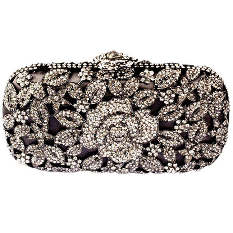 Beta & Tara Pillow Shaped Black Crystal Evening Handbag Women Hand Bag Luxury Flower Clutch Uk Sale - Store of Unique Accessories for iPhone Cell Phone store