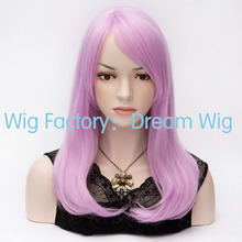 Long Kinky Straight Auburn Highlights Black/Light Purple/Red Synthetic Cosplay Halloween Holiday Party Womens peruca wig - Dream Wig store