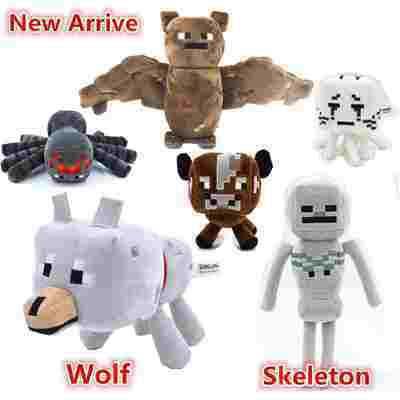 6PCS/SET Minecraft Spider Cow Ghast Plush Toys Minecraft Creeper wolf Bat Skeleton Toy dolls for baby gifts(China (Mainland))