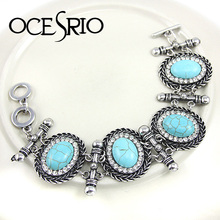 Vintage jewelry Turquoise stone charms Bracelets & Bangles crystal gifts silver bracelet charms for women 2016 brt-j36(China (Mainland))