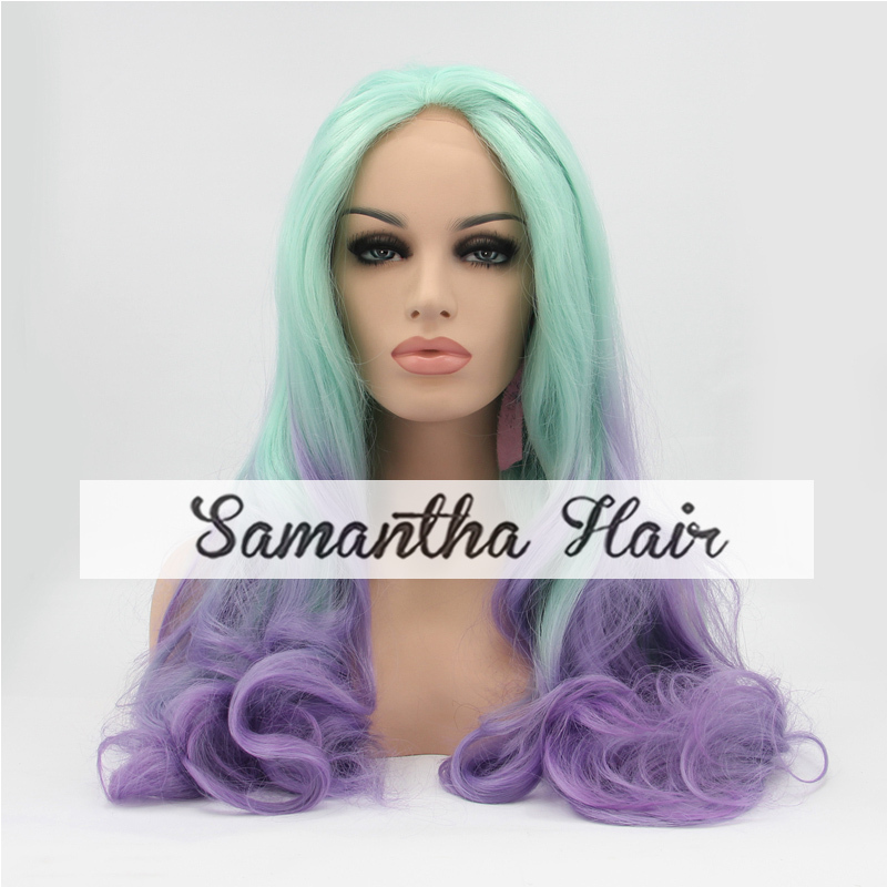 Ombre Two Tone Green/Lavender Wig Kanekalon Synthetic Hair Glueless Lace Front Wig Heat Resistant Wavy Light Green Lavender Wig(China (Mainland))