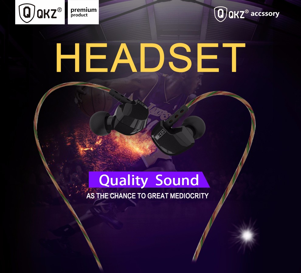 QKZ DM200 Earphone HIFI Metal Headset Original 100% 3.5mm Headset Stereo Earphones Super Bass noise isolating fone de ouvido