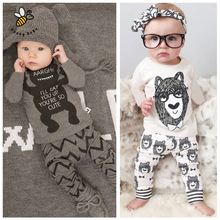 Cartoon Kids Clothes Cotton Baby Clothing Sets Little Monsters Long Sleeve 2pcs Baby Boys Clothes Children Clothing(China (Mainland))