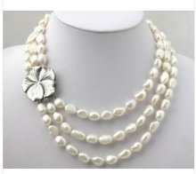 3 Rows White Freshwater Pearl Necklace Choker(China (Mainland))