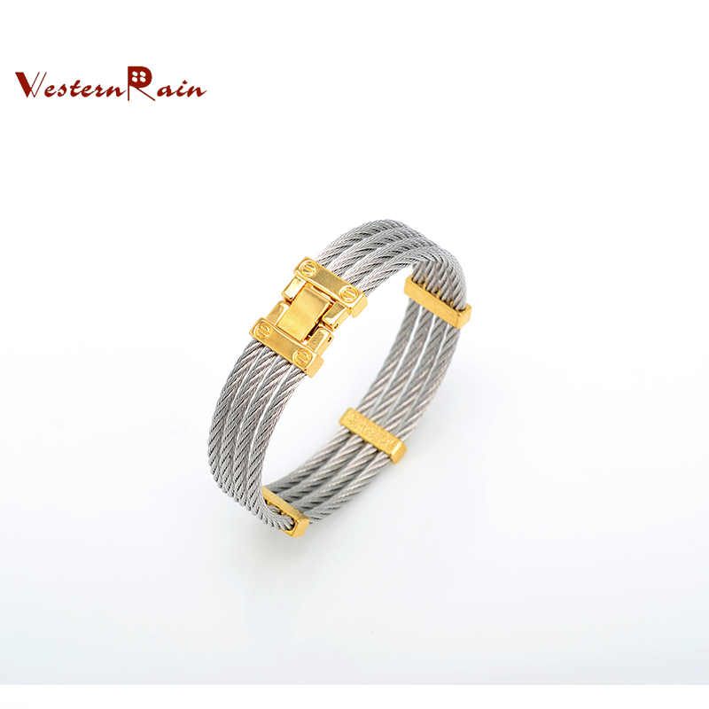 WesternRain 2016 Hot selling Men Jewelry Stainless Steel Jewelry Silver&Gold- Plated Men's Bangle Bracelet F5052(China (Mainland))