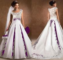2017 White And Purple A Line Wedding Dresses Stain Court Trian Sleeveless Embroidery Custom Plus Size for Free Wedding Dress(China (Mainland))