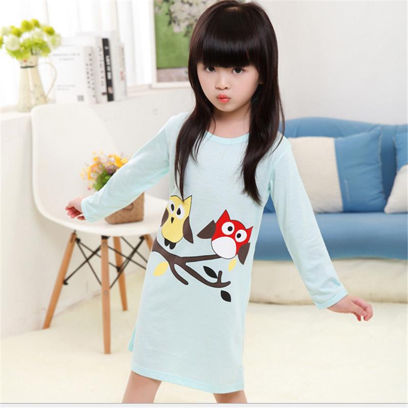 Girls Nightgown Sale Cotton Girls Nightdress Full SleeveLittle Girls Sleeping Clothes Night Dresses Gowns Pyjamas For girls(China (Mainland))