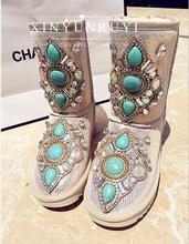 Hecho a mano de bohemia turcos rhinestone genuino de cuero impermeables botas de nieve plataforma de algodón acolchado zapatos(China (Mainland))