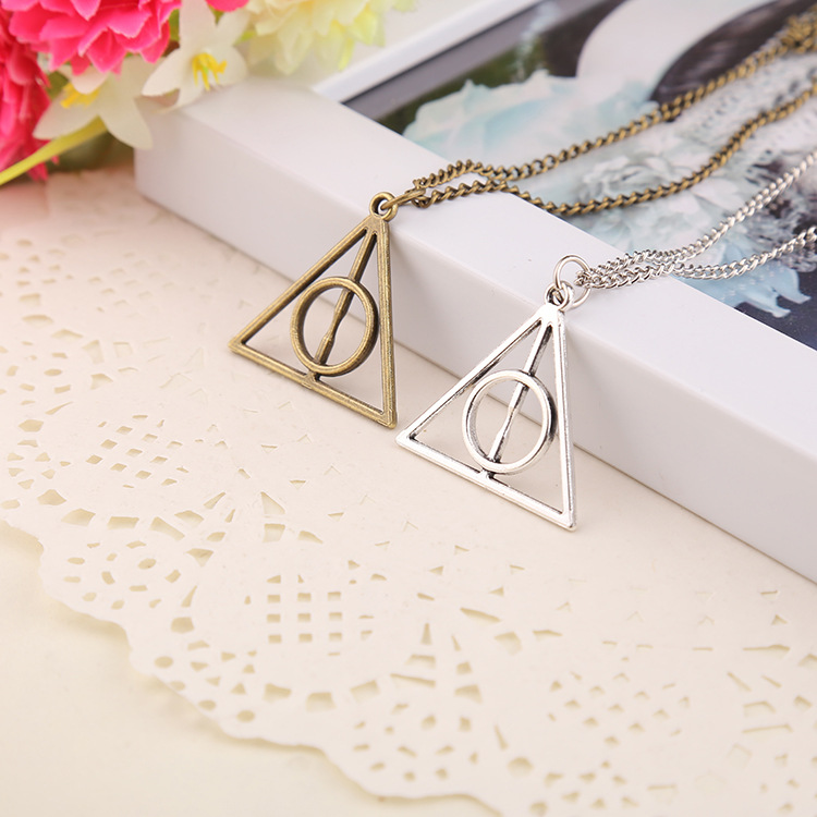 free shipping Fashion pendant Triangle Hot movie harry potter -deathly hallows silver Long Chian necklace as gifts(China (Mainland))