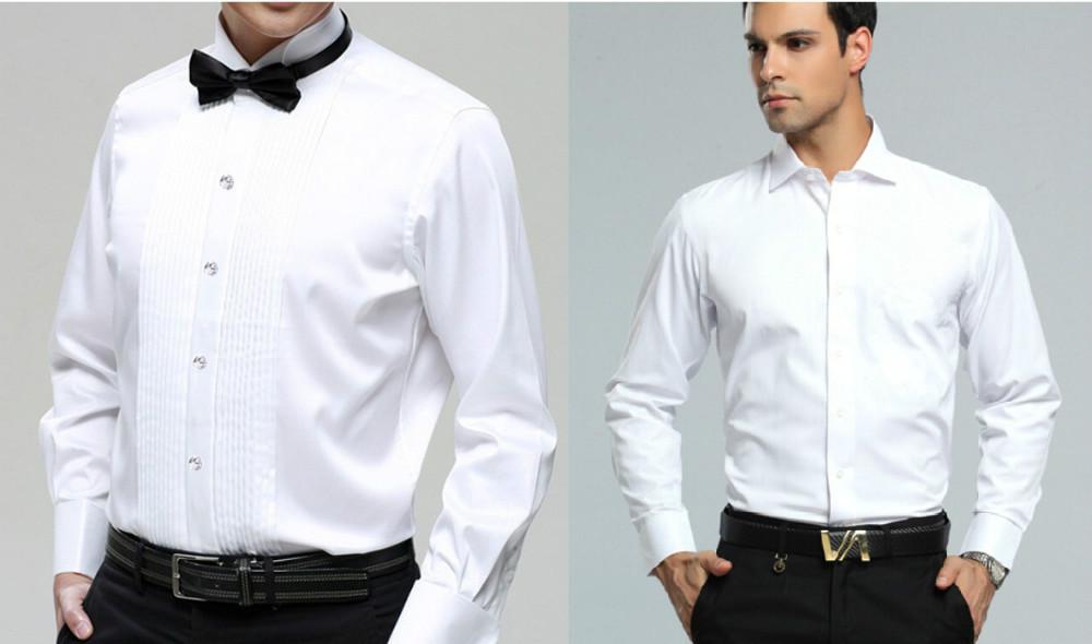 New style white long sleeved men shirt wedding prom groom for Man in white shirt
