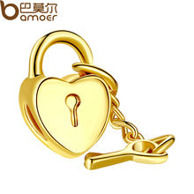 Authentic 18K gold plated Key To My Heart LOVE Charm Fit pandora Bracelet Necklace Original Accessories women DIY Jewelry(China (Mainland))