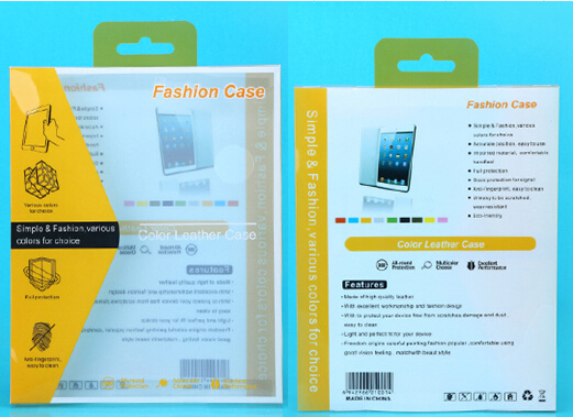 100pcs 255*205*24mmYellow Retail Packaging PVC plastic box for ipad 2 3 4 5 air 6 case and other pad less-than10inch packing box(China (Mainland))