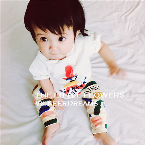 Cute baby girls boys casual clothes set new summer kids short sleeve cotton printed t shirt pant suit childrens wear 16J03(China (Mainland))