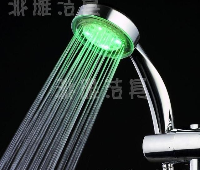 Free shipping Pink, blue, red 3-color Temperature Sensor LED Shower Head Bathroom Sprinkler spray head sanitary ware