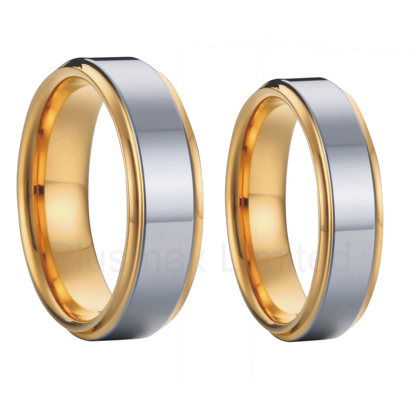 Classic two tone 8mm &amp; 6mm 18k yellow gold plated high polishing tungsten carbide rings wedding band couples rings sets<br><br>Aliexpress