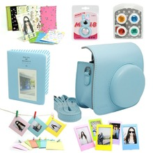 Fujifilm Instax Mini 8 Instant Camera Accessory Bundles Set (blue PU leather bag/3 inch mini album/photo frame/…)