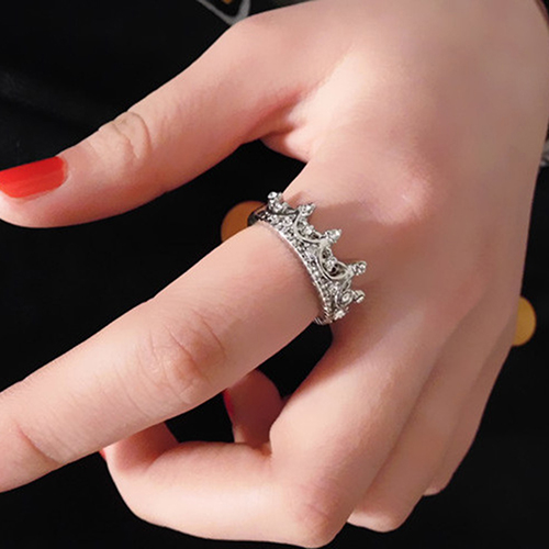 Hot Brand Womens Hollow Queen Crown Rhinestone Silver Plated Ring Wedding Jewelry 6K9R 7GK8 BDM1(China (Mainland))