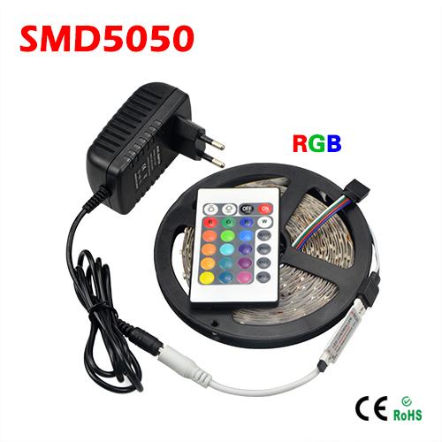 5M/roll SMD 5050 RGB LED Strip light 300LEDs/5M + 24 Keys remote controller + DC 12V 3A Power Supply Adapter EU / US Plug(China (Mainland))