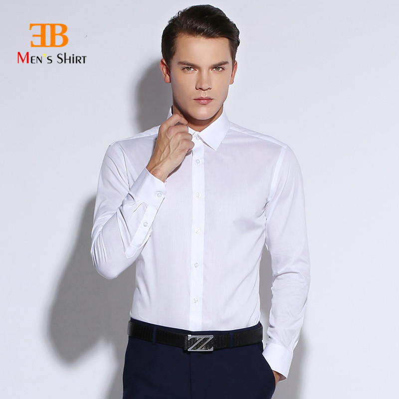 2015 new mens slim fit solid color white long sleeve dress Buy white dress shirt