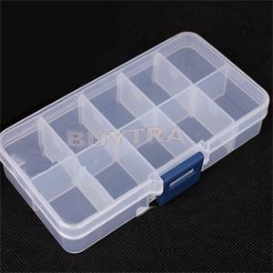 2014 New Adjustable Plastic 10 Compartment Storage Box Earring Jewelry Bin Case Container(China (Mainland))