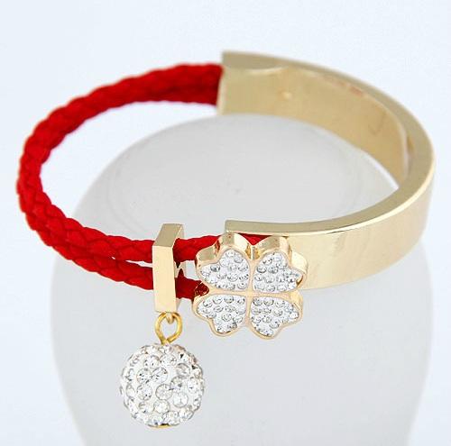 New 2015 brand design Rose Gold Four Leaf Clover Flask crystal diamond leather Flask bracelet bangle women Christmas gift BG018(China (Mainland))