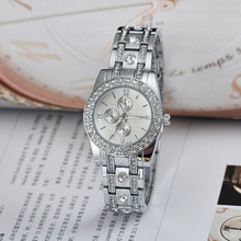2016 New Fashion Silver Watches Women Quartz Analog Dress Watch relogio feminino Luxury Brand Geneva Diamond