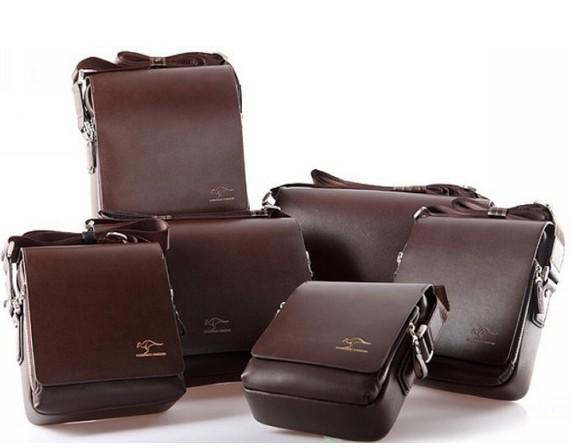 2015 Fashion Kangaroo Brand Men s Genuine PU Leather Crossbody Shoulder Messenger Bags Hi Quality Mens
