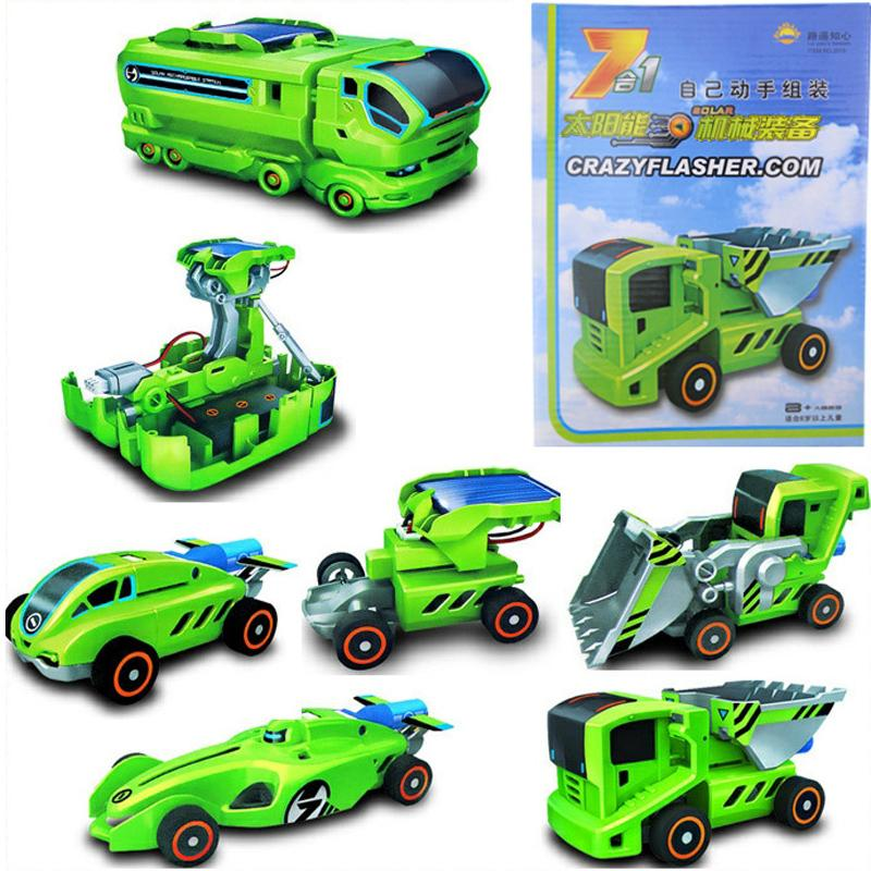 2015 7 IN 1 ceative gift electronic DIY Deformed robot Solar energy toys for adult and kids birthday(China (Mainland))