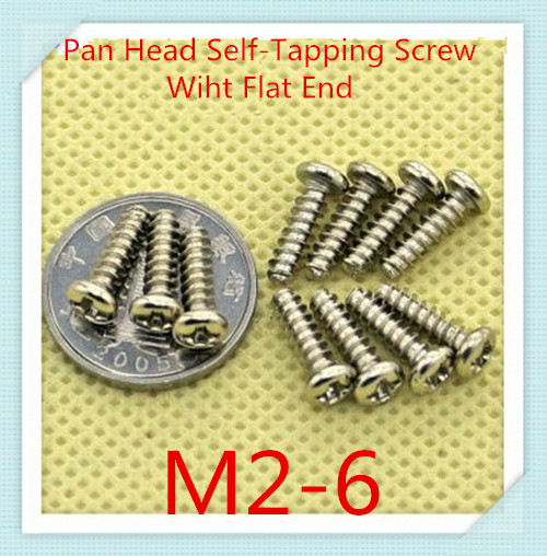 200PCS/LOT M2*6 Steel With Nickel Plated Pan Head  Flat Tail  End  Cross Recessed Self-tapping  Screw<br><br>Aliexpress