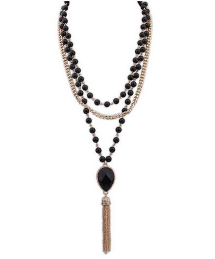Новые стили женский богемия блестящий золото на нескольких сеть бусины имитация перлы ожерелье кисточкой длинное ожерелье для женщин 1N372