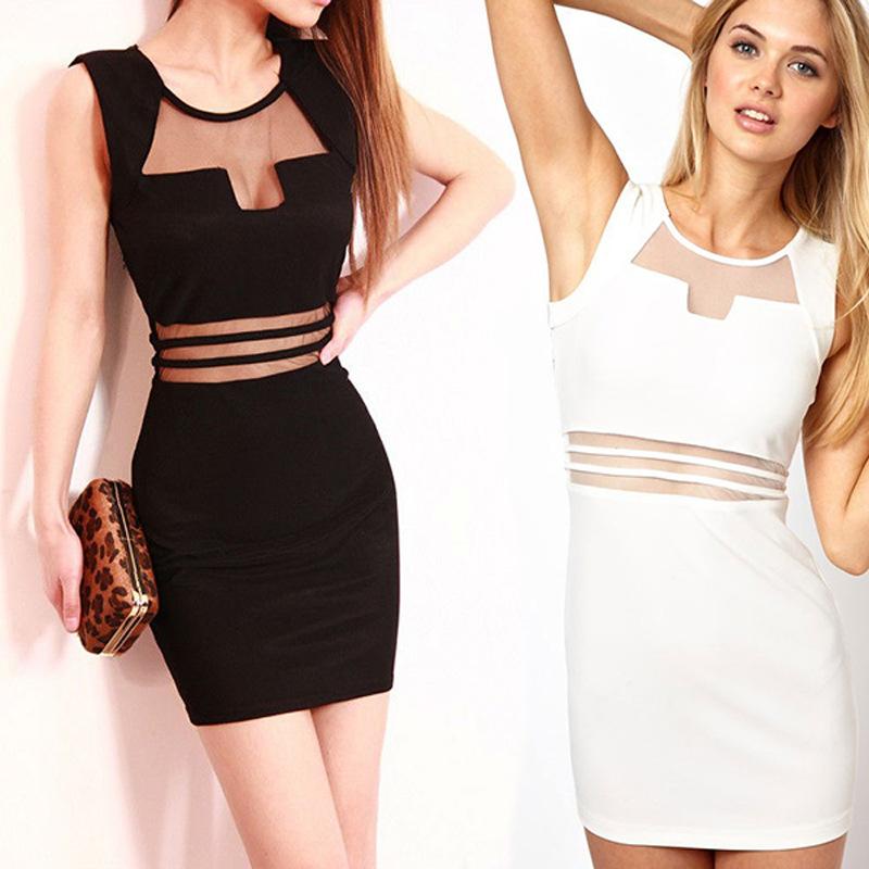 2016 clubwear party night club dress new sexy mesh sleeveless black lace dress bodycon bandage dress knee length Women dress